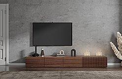 Mueble de tv chimenea alistonada nogal Mantua