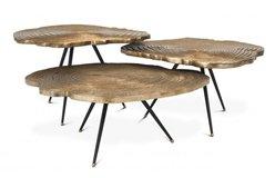 Mesa de centro latón Quercus set de 3