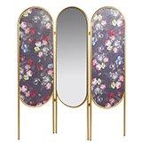 Biombo vintage Oval dorado con espejo