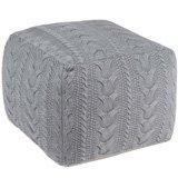 Puff gris tapizado de lana Braid