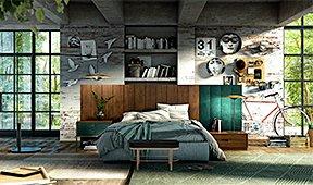 Cabecero vintage tapizado Loft