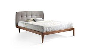 Cama moderna nogal y tapizada Dina para colchón 150x200