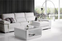 Sofa Diamond con chaissloungue en piel blanca