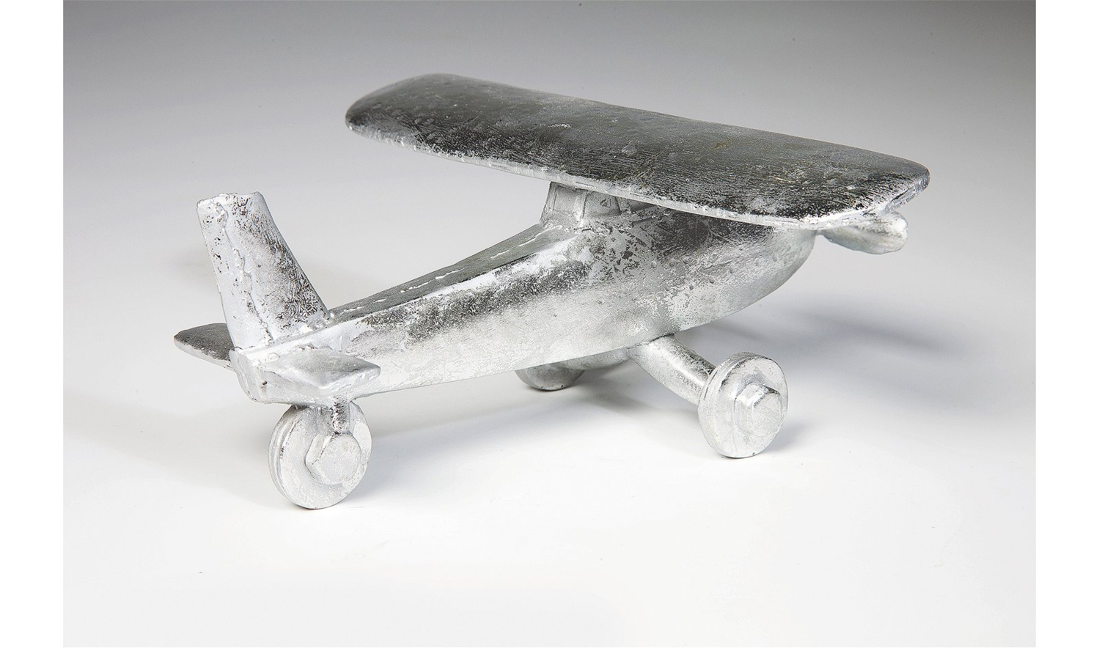 Figura decorativa Avión plata pequeño