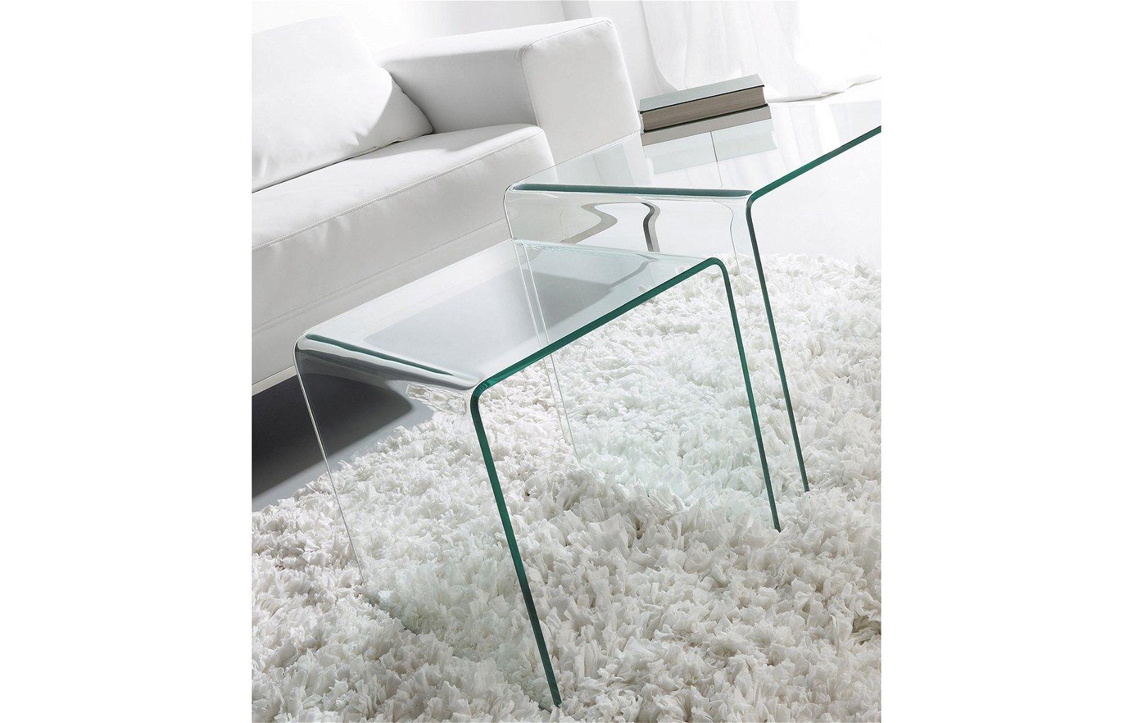 Mesas nido Burano cristal transparente