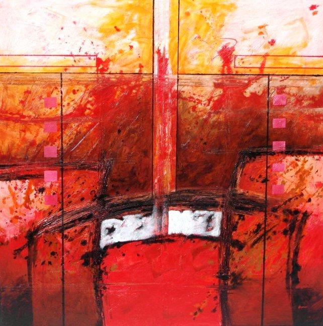 Cuadro abstracto cromatico rojo