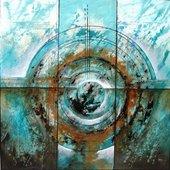 Cuadro abstracto movimiento oceanico