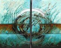 Cuadro abstracto diptico azul cerulero