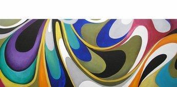 Cuadro Pintura Abstracto Olas Colores I