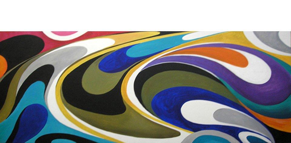 Cuadro Pintura Abstracto Olas Colores II