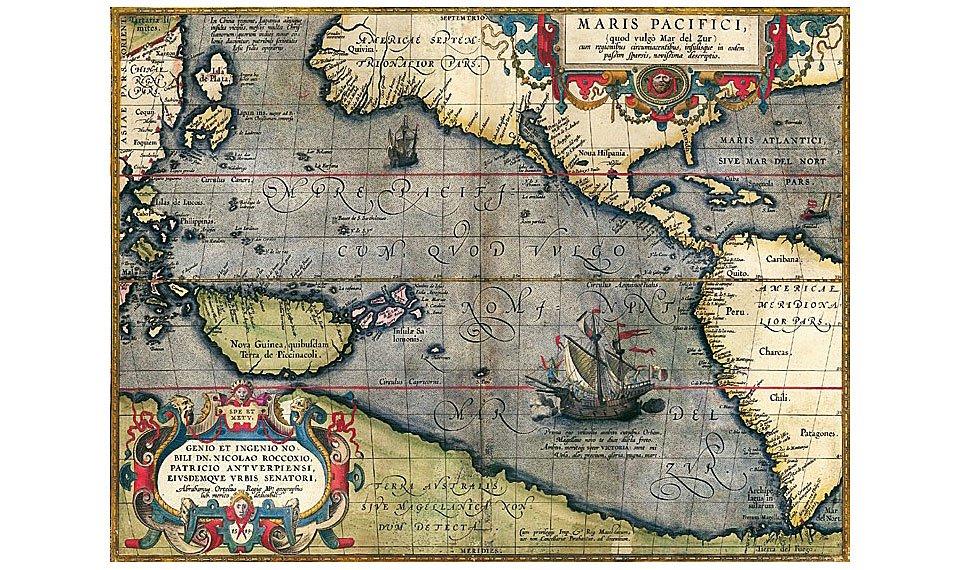 Cuadro canvas mapa oceano pacifico 1589