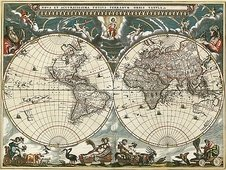 Cuadro canvas mapa globo terraqueo 1664