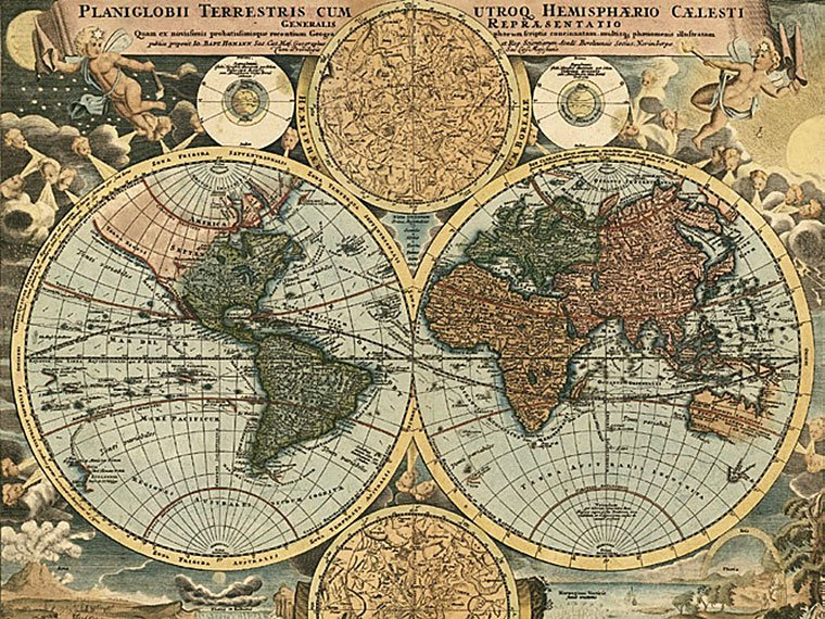 Cuadro canvas mapa globo terraqueo 1716