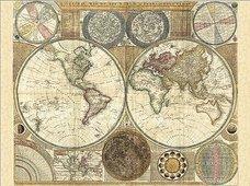 Cuadro canvas mapa globo terraqueo 1794