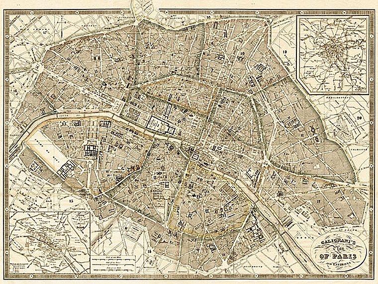 Cuadro canvas mapa de paris y alredededores 1865
