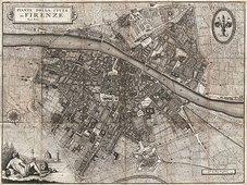 Cuadro canvas mapa de florencia italia 1847