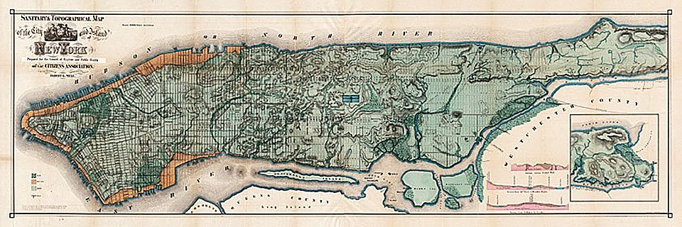 Cuadro canvas mapa de manhattan new york 1865