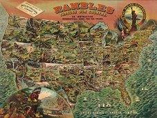 Cuadro canvas mapa geografico antiguo america 1890