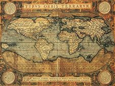 Cuadro canvas mapa mundi en latin 1587