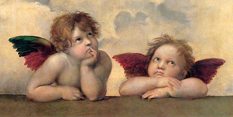 Cuadro canvas raffaello angeli madonna sistina