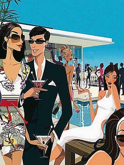 Cuadro canvas outdoor pool party