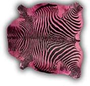 Alfombra Cebra piel entera impresa teñido Rosa