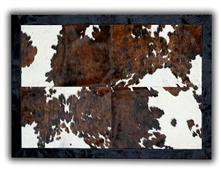 Alfombra piel toro 4 piezas con ribete 140x200cm