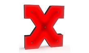 Aplique letra X color rojo
