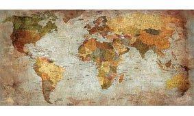 Cuadro canvas mapa mundi actual aspecto envejecido