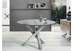 Mesa de comedor trípode acero pulido