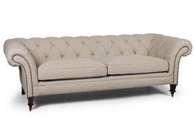 Sofá Chester capitoné tapizado beige tacholado