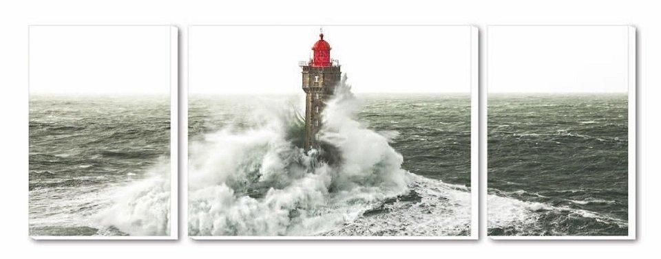 Cuadro Tríptico Canvas Le phare Jument