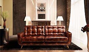 Sofá Sterling Cooper Retro cuero antic