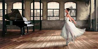 Cuadro canvas dim light ballerina