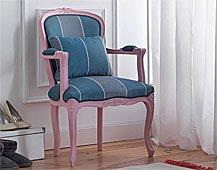 Sillón rosa vintage tapizado Luis XV