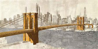 Cuadro canvas gilded brooklyn bridge