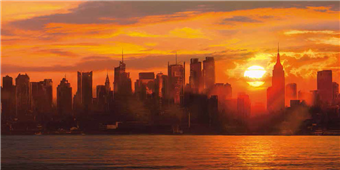 Cuadro canvas sunset over manhattan
