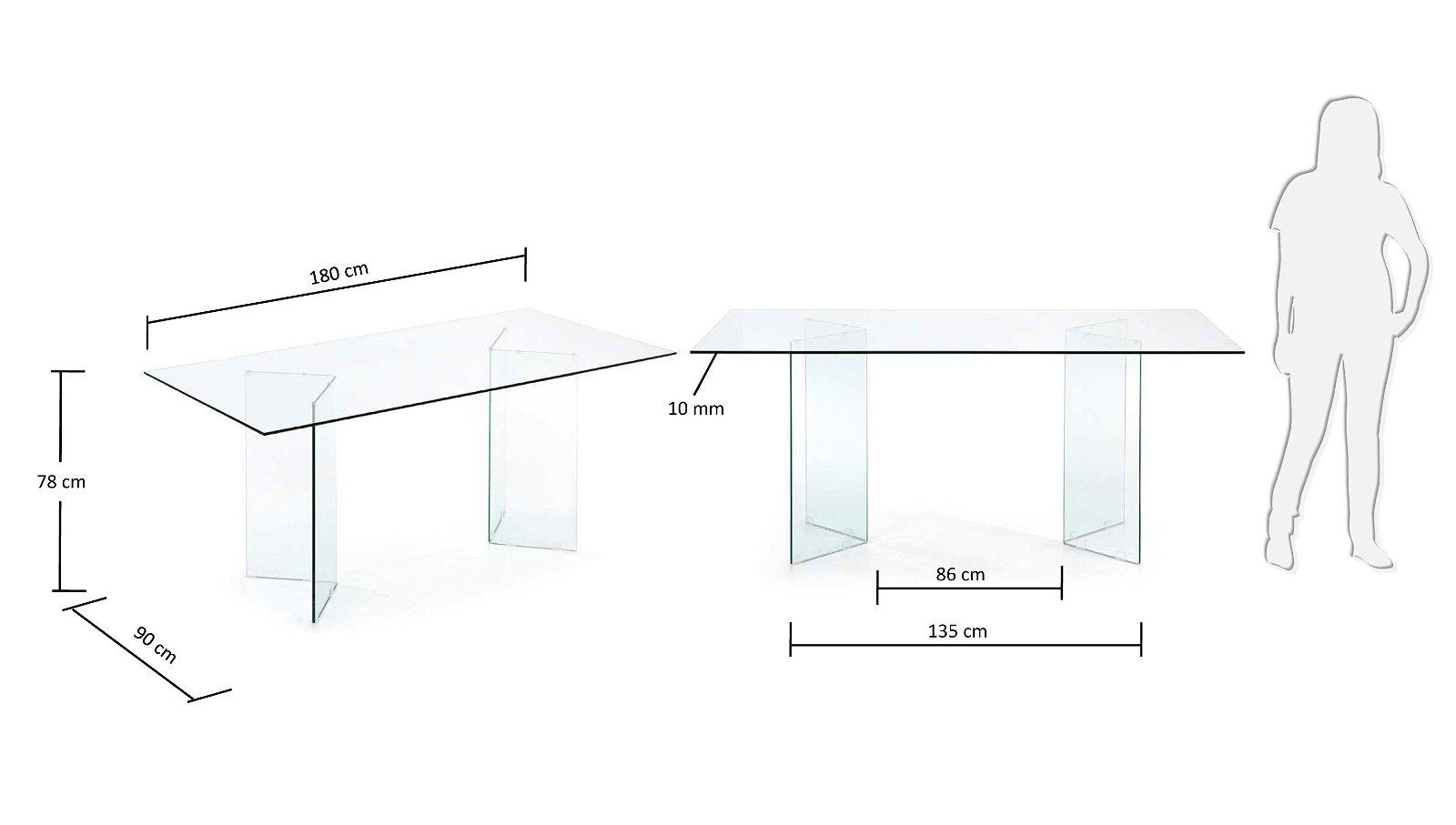 Mesa de comedor fija Burano cristal