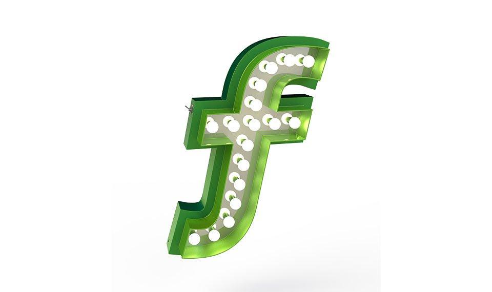 Aplique letra F color verde