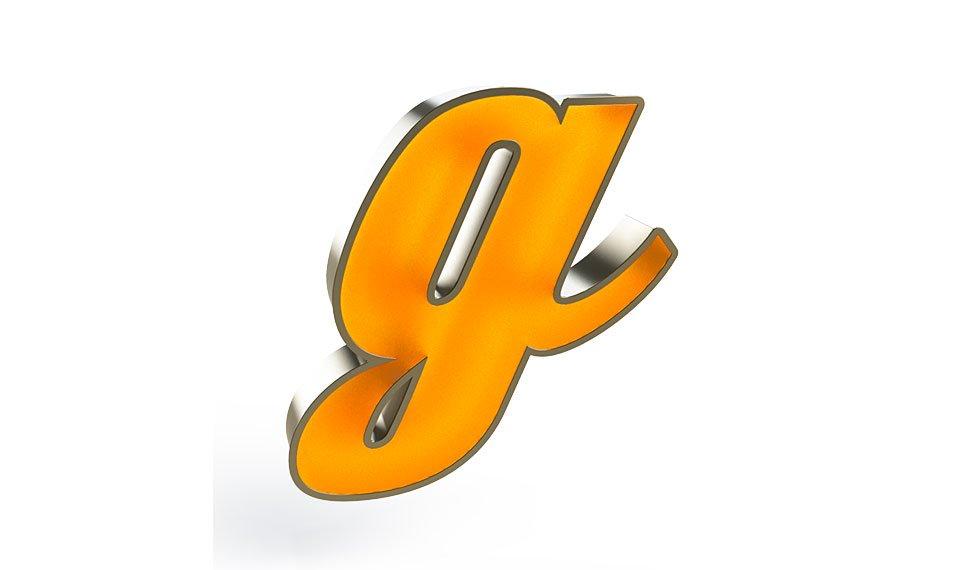 Aplique letra G color naranja