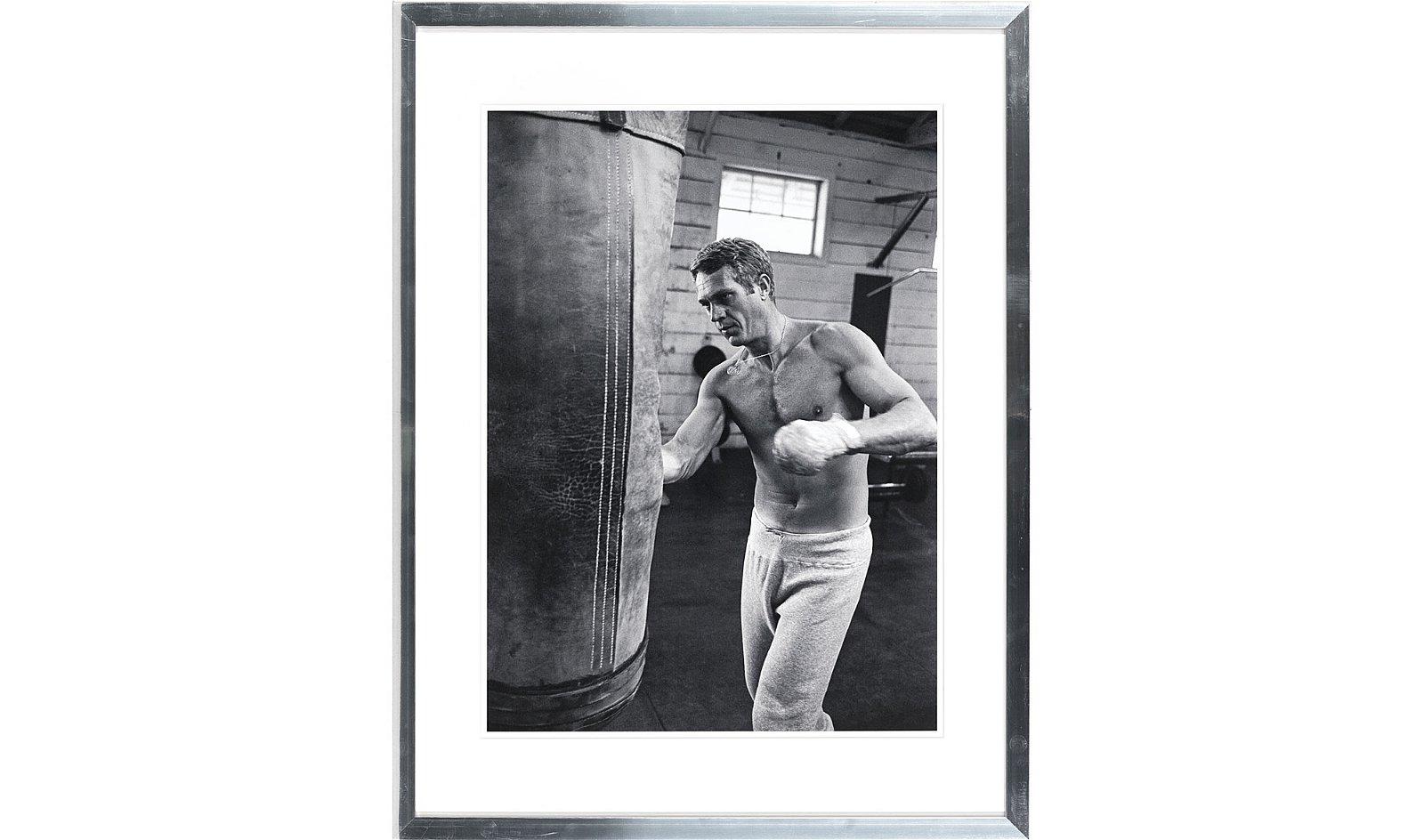 Cuadro Steve McQueen Boxeando marco en aluminio
