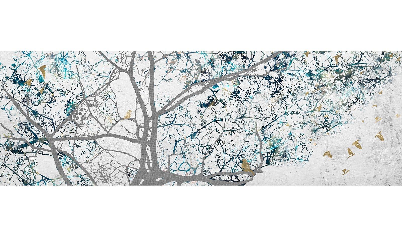 Cuadro ramas árbol fondo blanco roto con aves