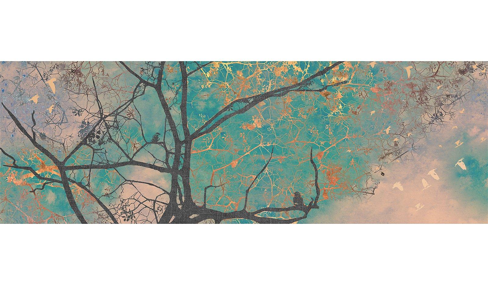 Cuadro ramas árbol fondo turquesa con aves