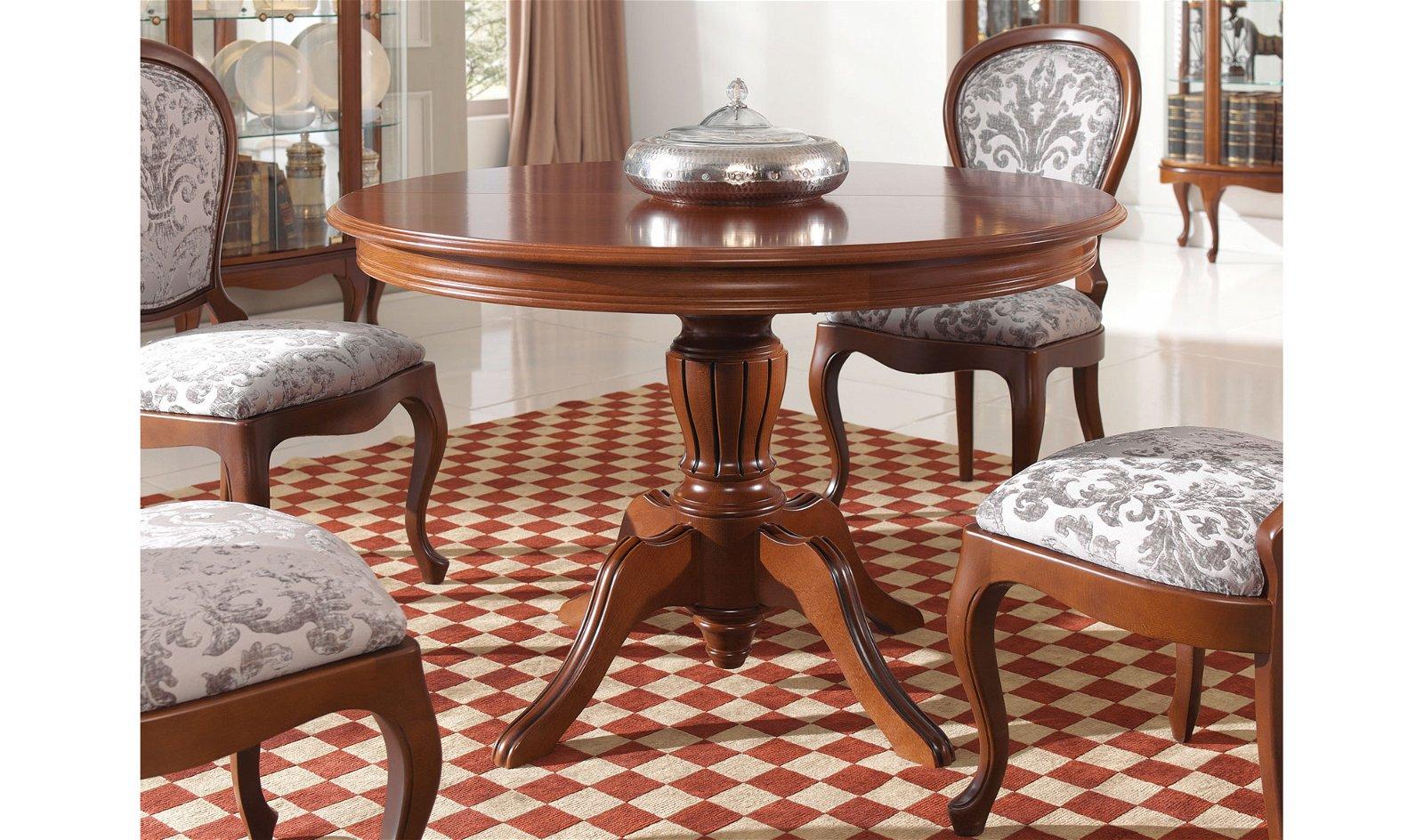 Mesa de comedor redonda extensible clásica Lopel