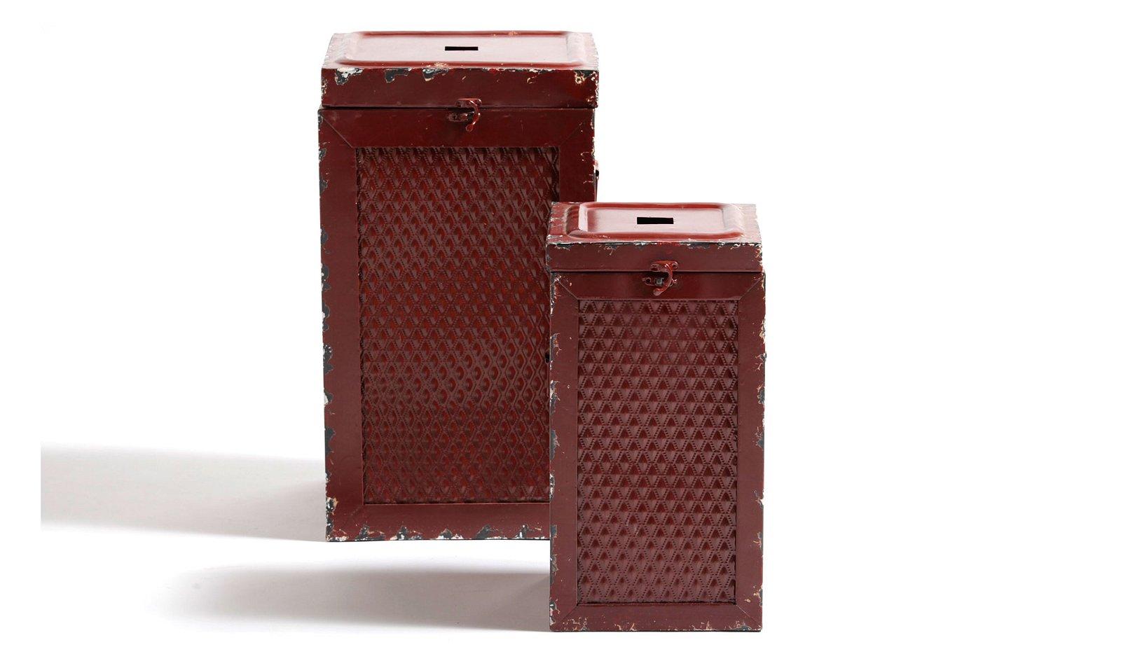 Set 2 taburetes caja rojo vintage Antique