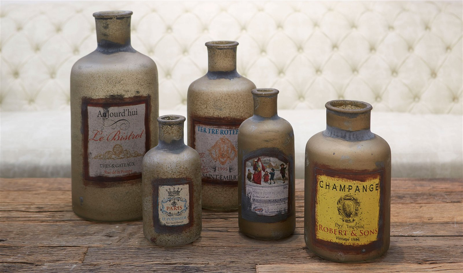 Set 5 botellas decorativas antique
