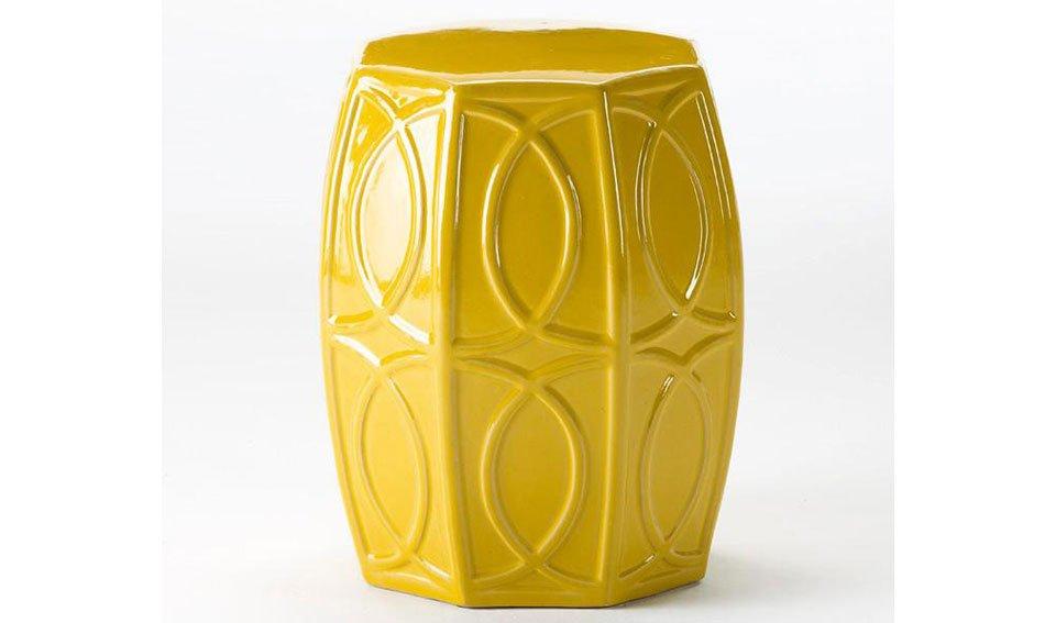 Taburete chino cerámica amarillo