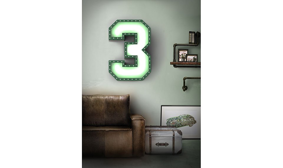 Aplique número 3 color verde