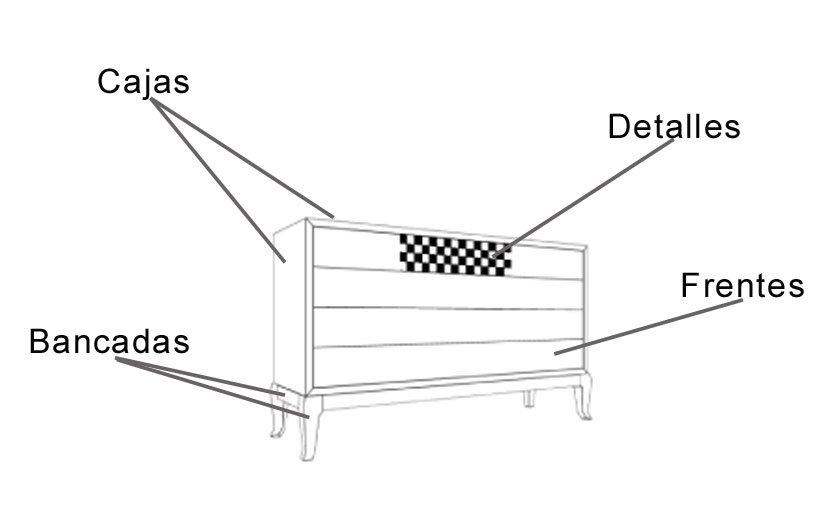 Cómoda 4 Cajones Moderna Nite II