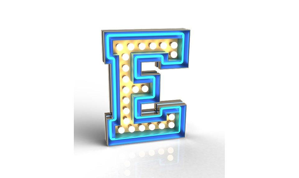Aplique letra E color turquesa